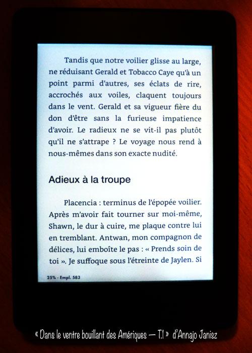 Extrait sur la liseuse d'un livre électronique français de voyage aux Amériques