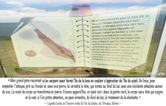 Légende de l'île de la lune sur le lac titicaca en Bolivie, qui serait le corps d'un serpent.