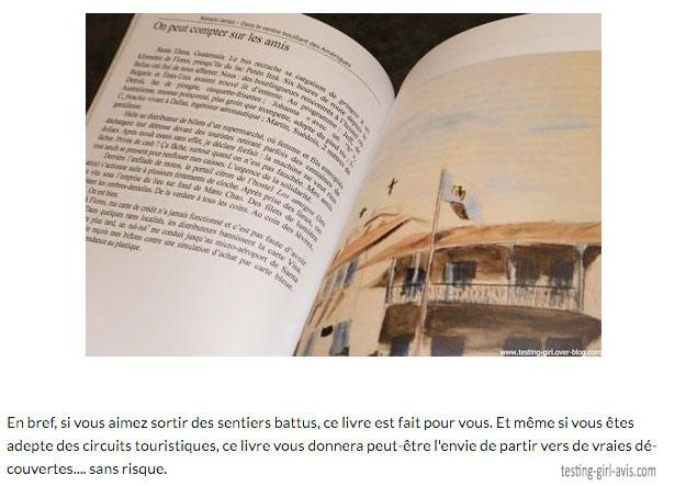 Extrait de la chronique du livre de voyage d'une auteure indépendante