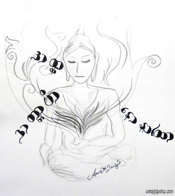Le dessin de ce Bouddha apaisé illustre les bienfaits de la méditation vipassana