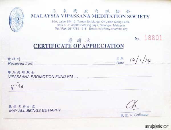Reçu d'un don fait en faveur du centre de méditation vipassana de Malaisie