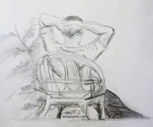 Dessin d'un homme qui se repose, assis sur une chaise