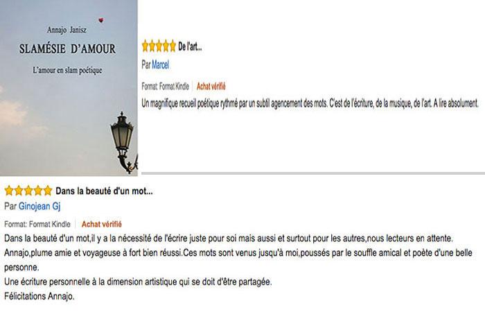 Commentaires des lecteurs des plus beaux messages d'amour en slam de la femme écrivain contemporaine française Annajo Janisz