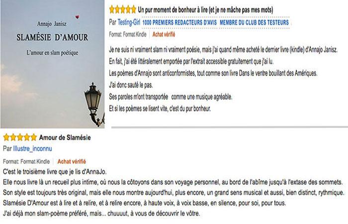 Commentaires des lecteurs des plus beaux messages d'amour en slam poésie de l'écrivaine française contemporaine Annajo Janisz