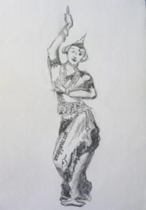 dessin de l'écrivain voyageur Annajo Janisz représentant une danseuse indonésienne