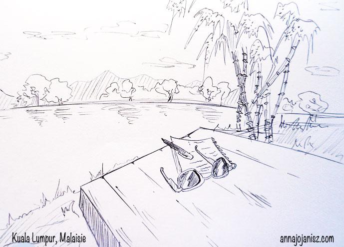 Dessin d'Annajo Janisz d'un paysage d'Asie du Sud Est à Kuala Lumpur, Malaisie