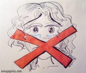 Dessin d'une jeune fille à la bouche barrée en rouge illustrant la peur de parler en public