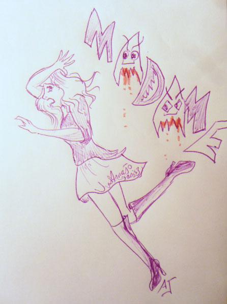 Le premier Madame peut faire peur… Comme le dessin de cette femme qui se fait pourchasser par le mot Madame
