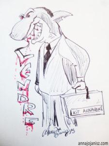 Le commercial qui vend quelque chose est souvent représenté par un requin, comme ce dessin humoristique d'Annajo Janisz
