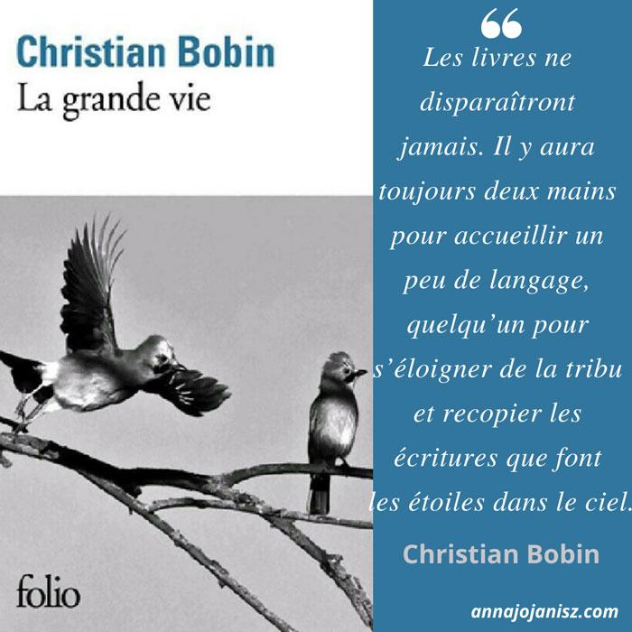 Meilleur extrait du livre La grande vie de Christian Bobin dont la critique et l'avis sont sur le blog de l'auteure Annajo Janisz