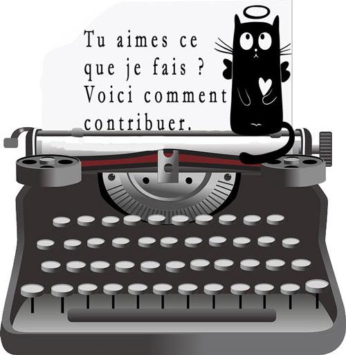 Machine à écrire où il est écrit comment contribuer